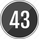 fourty, music, number, three, track icon