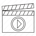 cinema, clap, clapboard, line, movie, outline, video icon