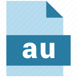 au, audio file format, document, extension, file, format icon