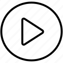 interface, movie, multimedia, play button, ui, video, video player icon