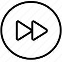 audio, fast forward, interface, music, sound, ui, video icon
