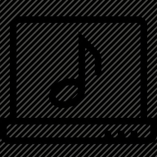 audio, computer, laptop, media, on, online, play icon