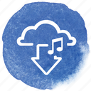 cloud, download, music, notes, song, sound icon