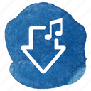arrow, download, music, notes, song icon