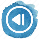 audio, back, circle, previous, track icon