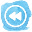 back, circle, double arrow, fast, previous, rewind, track icon