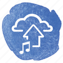 arrow, cloud, music, song, up, upload icon
