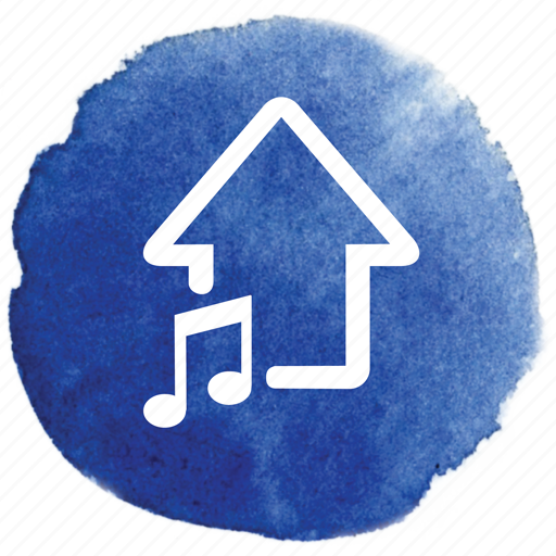 arrow, music, note, song, upload icon