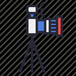 camera, dslr, flash, lens, photo, photography, tripod icon