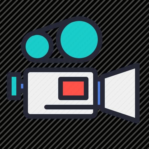 camera, lens, movie, old, record, video, vintage icon