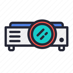 lens, projector, screen, video icon