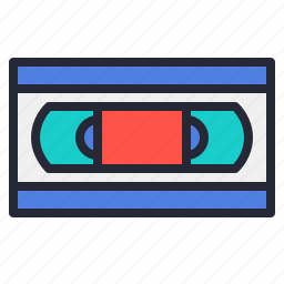 movie, old, tape, vhs, video, vintage icon