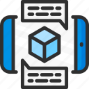 augmented, chat, cube, mobile, phone, reality, text icon