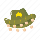 australia, colorful, cork, hat, landmark, object icon