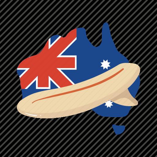 australia, board, colorful, landmark, map, object, surf icon