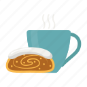 strudel, layered, pastry, hot tea, coffee, cup icon