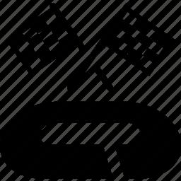 checkered flag, finish, line, raceway, track icon