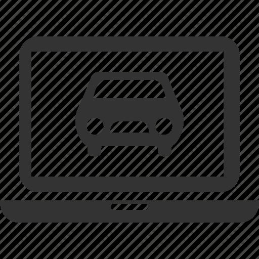 auto, car, laptop, online, service icon