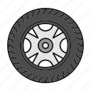 automobile, car, rim, tire, tyre, vehicle, wheel icon