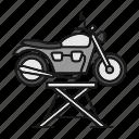 breakage, jack, maintenance, motorbike, motorcycle, repair, vehicle icon