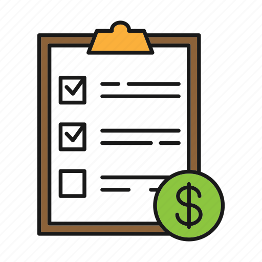 cost, dollar, file, paper, report, service list, sheet icon