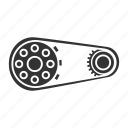 belt, chain, chainwheel, gear, sprocket, vehicle, wheel icon
