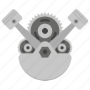 car engine, car parts, engine concept, mechanical kit, piston and gear icon