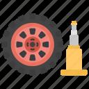 car alignment, car services, vehicle detailing, wheel and jack, workshop concept