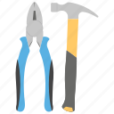 hammer and plier, maintenance tool, mechanical equipment, repair services, repairing tool icon
