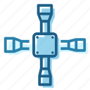 cross, garage, tool, universal, wheel, wrench icon