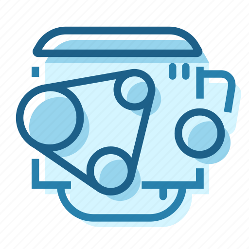 belt, block, engine, head, piston, sump icon
