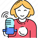 sound, recording, asmr, woman, speaker icon