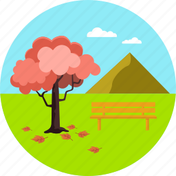 autumn, bench, landscape, leaves, nature, scene, tree icon