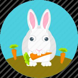 animal, autumn, bunny, carrots, garden, rabbit, rabbit eating carrots icon