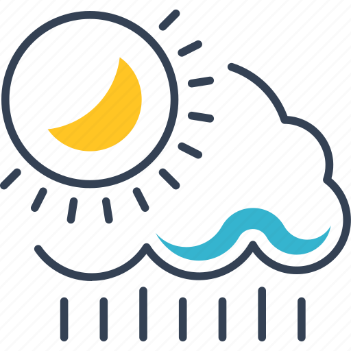 autumn, clouds, sun, weather icon