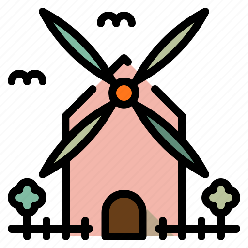 and, autumn, buildings, farming, gardening, windmill icon