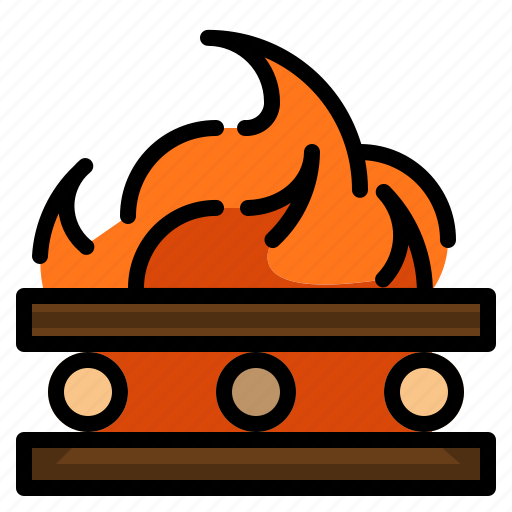 bonfire, camping, fire, miscellaneous, survival icon
