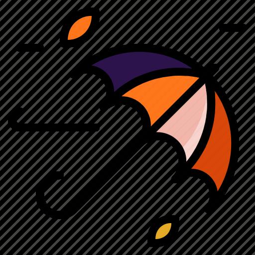 autumn, umbrella, weather, wind, windy icon