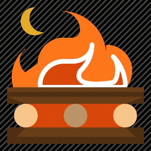 bonfire, camping, fire, miscellaneous, survival icon