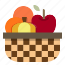 apple, basket, fruit, orange, pumpkin icon