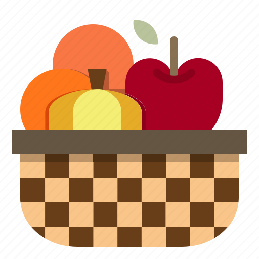 apple, basket, fruit, orange, pumpkin icon