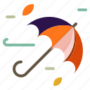 autumn, umbrella, weather, wind, windy icon