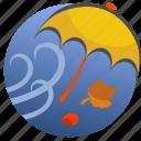 autumn, leaves, umbrella, wind, leaf, nature, weather