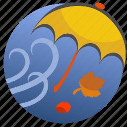autumn, leaf, leaves, nature, umbrella, weather, wind icon