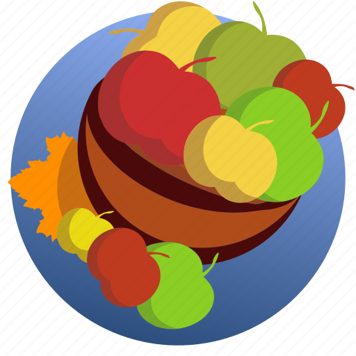apples, autumn, eating, food, leave, plate, vegetable icon