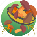 autumn, eat, eating, food, mushrooms, plate, vegetable icon