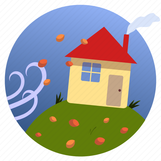 autumn, home, house, leaves, seasons, weather, wind icon