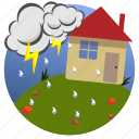 autumn, clouds, house, lightning, rain, seasons, storm icon