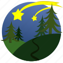 autumn, forest, nature, shooting stars, stars, trees, weather icon