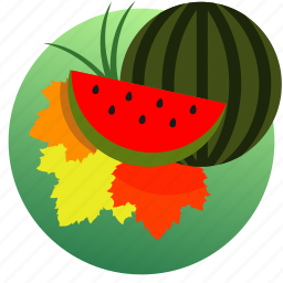 autumn, eat, eating, food, leaves, sweet, watermelon icon